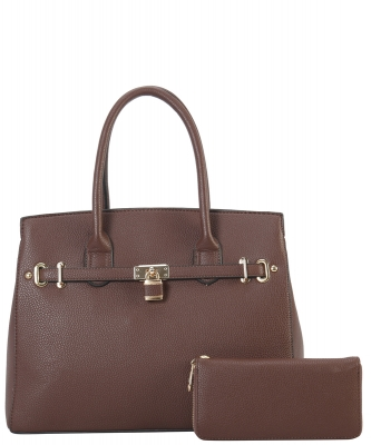 Two in One Tote Handbag Designer with Wallets LI6982 COFFEE