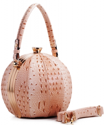 Fashion Faux Leather Ostrich Handbag  LM2038 BIEGE
