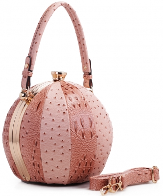 Fashion Faux Leather Ostrich Handbag  LM2038 BLUSH