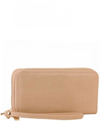 Simple Double Zip-Around Wallet LP0012 BIEGE