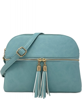 Zip Tassel Multi Compartment Crossbody Bag LP050 TURQUIOSE
