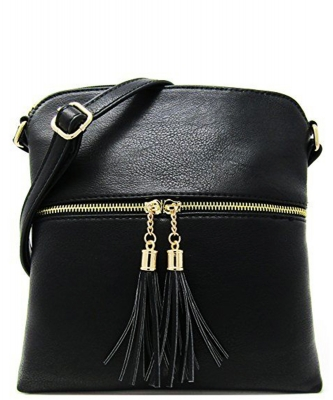 Tassel Accent Messenger Bag LP062 BLACK