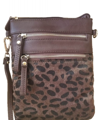 Women's Leopard Print Crossbody Bag LU006 CHOCO