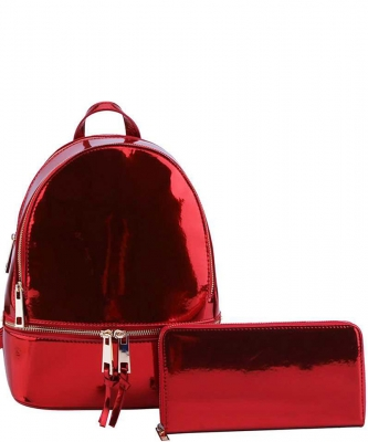 2 in 1 Chic Glossy Fashion Backpack with Matching Wallet  MH-1082-w RED