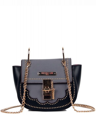 Nicole Lee Zosia Saddle Crossbody Bag mq12817 BLACK