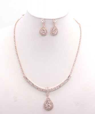 Rhinestone Necklace with Earrings NB330034 RGCL