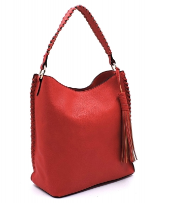 Fashion Pebbled Large Bucket Satchel OP2714 RED