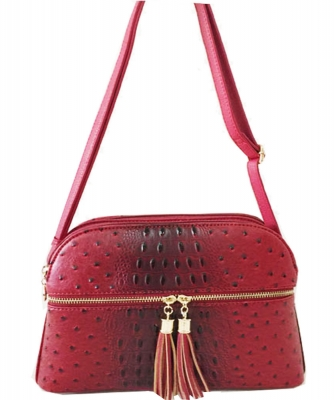 Ostrich Croc Satchel Messenger Bag OS050 RED