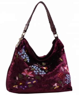 Embroidered Flowers Fashion Handbags PW1539 BURGANDY