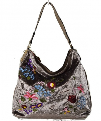 Embroidered Flowers Fashion Handbags PW1539 STONE