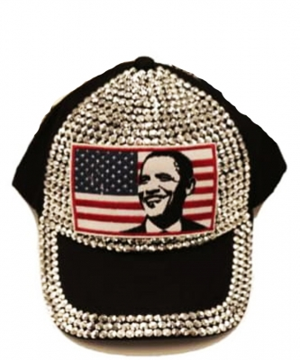 Obama Rhinestone Bling Cap QC401B BLACK