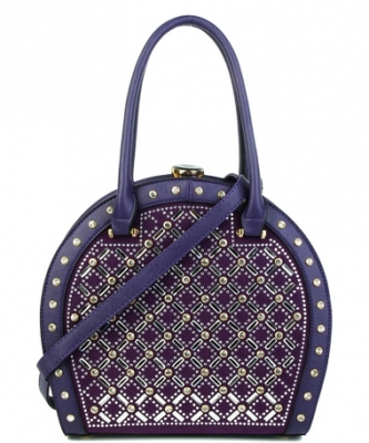 Jewel-top Rhinestone Embellished Bag S818 PURLE