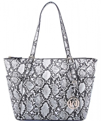 Hot Trendy Snake Textured Shopper Bag SL1009 BLACK
