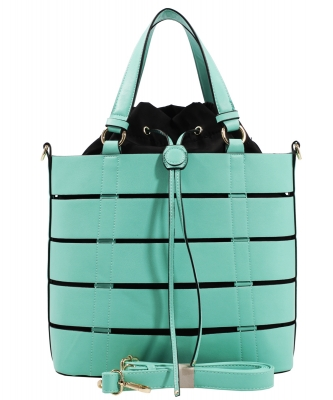 Two tone Drawstring Tote Bags SS1079 MNT