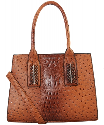 Double Handle Structured Work Tote Satchel Handbags Shoulder Bag Purse TU7006 BROWN