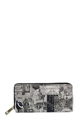 DESIGNER PARIS WALLET ILLUSTRATION SINGLE ZIP AROUND WA005-1