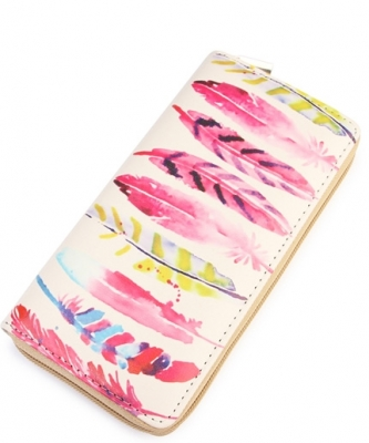 Watercolor Feather Print Wallet  WT326X025