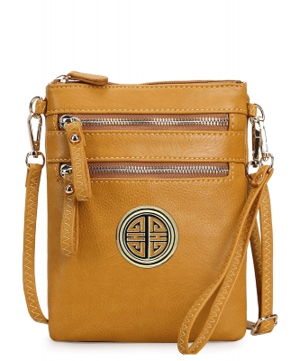 Women's Rich Faux Leather Organizer Multi Zipper Pockets Crossbody Bag WU002L MUSTARD