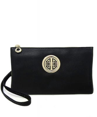 Womens Multi Compartment Functional Emblem Crossbody Bag With Detachable Wristlet WU020L BLACK