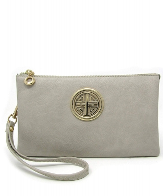 Womens Multi Compartment Functional Emblem Crossbody Bag With Detachable Wristlet WU020L BRICK