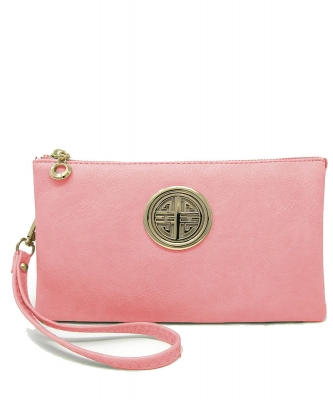 Womens Multi Compartment Functional Emblem Crossbody Bag With Detachable Wristlet WU020L LightPINK
