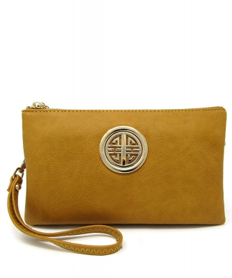 Womens Multi Compartment Functional Emblem Crossbody Bag With Detachable Wristlet WU020L MUSTARD