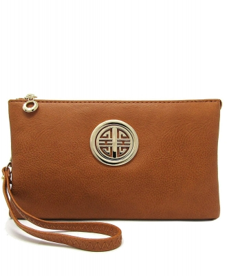 Womens Multi Compartment Functional Emblem Crossbody Bag With Detachable Wristlet WU020L TAN