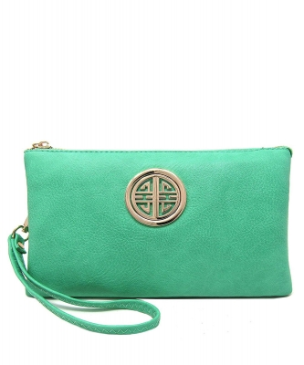 Womens Multi Compartment Functional Emblem Crossbody Bag With Detachable Wristlet WU020L TORQUIOSE