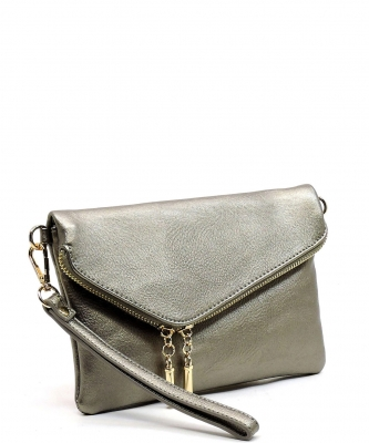 Fashion Evening Envelope Fold Over Clutch Wristlet Purse Cross Body Bag WU023 LIGHT PEWTER