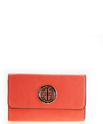 Designer  Inspired Clutch w strap WU027 Orange
