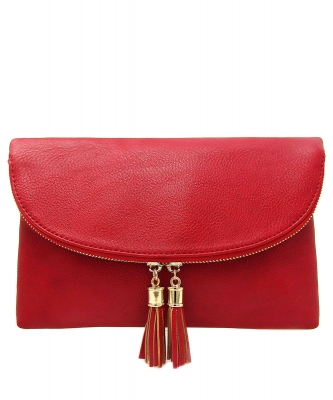 Women's Envelop Clutch Crossbody Bag With Tassels Accent WU075  RED