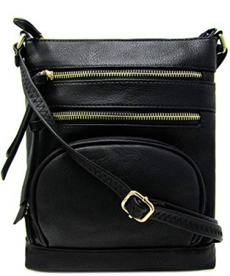 Multi Zip Pocket Crossbody Bag WU078 BLACK