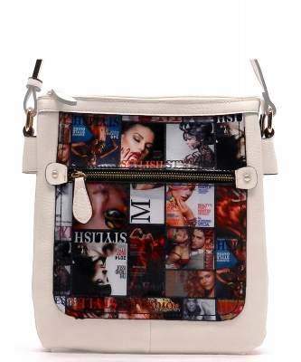 Magazine Print Design Crossbody Bag WYP2001a WHITE