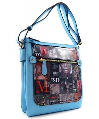 Magazine Print Design Crossbody Bag WYP2001d BLUE