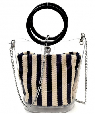 Round Handle 2 in 1 Clear Satchel With Pinstriped Inner Bag Y101 NAVY