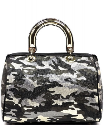 Metallic Camouflage Top Handle Satchel YH002 BLACK GOLD