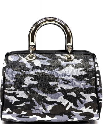 Metallic Camouflage Top Handle Satchel YH002 BLACK SILVER