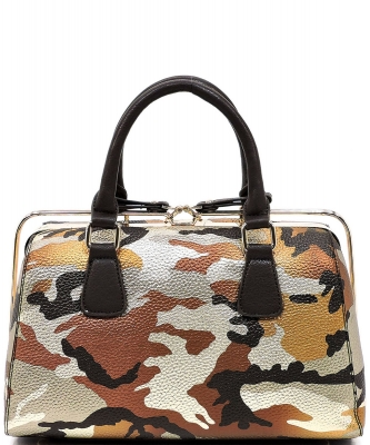 Metallic Camouflage Silde Zipper Satchel YH003 BROWN GOLD