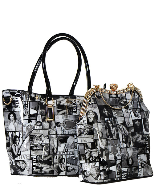 Michelle Fashion Magazine Print Faux Patent Leather Handbag