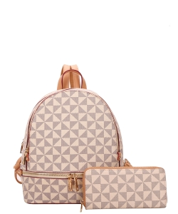 2In1 Smooth Checker Backpack Wallet Set 007-7285W TAUPE