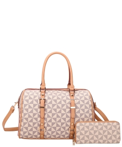 2 in 1 Two-Tone Checkered Duffel Bag Wallet Set 007-8408W TAUPE