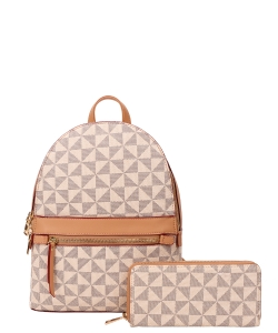 2In1 Smooth Checker Backpack Wallet Set  007-8582W TAUPE