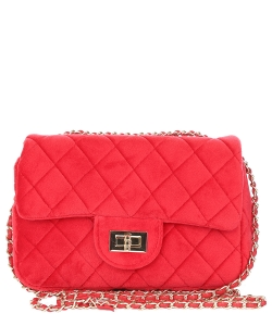 Quilted Velvet Crossbody Purse 0698 RED