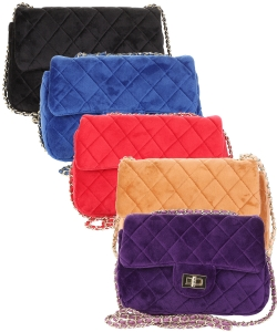 Package of 6 Pieces Quilted Velvet Crossbody Purse 0698