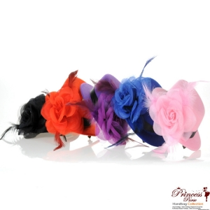 12 Assorted Color Small Hair Clip Hat w/ Flower And Feather Accent