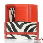 Designer Inspired Zebra Print Wallet w/ Fold Over Snap Closure