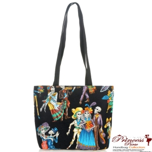 Day of the Dead Dancing Skulls Inspired Bucket Handbag (made in USA)