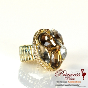 Fashionable Ring w/ Crystal And Large Stone Accents