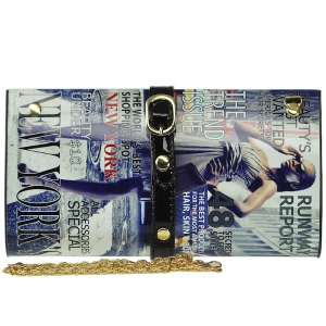 Magazine Print Design Clutch Wallet - WY407S - SB