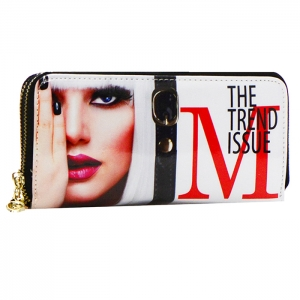 Magazine Print Patent Leather Wallet W0002Y104 100463